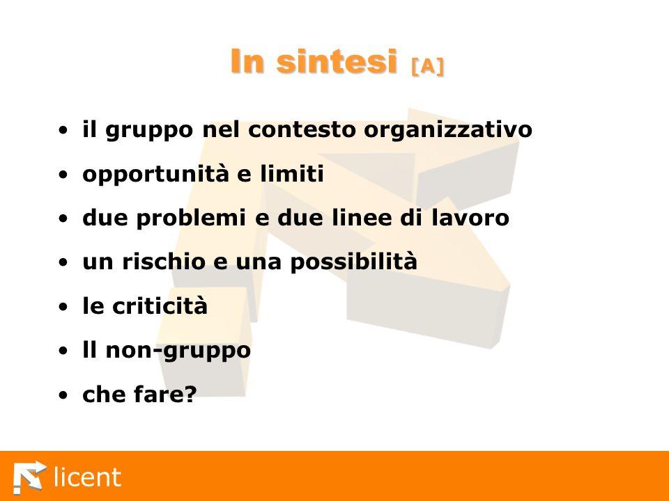 In sintesi [A] il gruppo nel contesto organizzativo